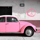 ¡Viva Mexico! Square Collection - Pink VW Beetle Car & Peace Symbol