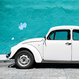 ¡Viva Mexico! Square Collection - White VW Beetle Car & Turquoise Wall