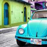 ¡Viva Mexico! Square Collection - Turquoise VW Beetle Car and Colorful House