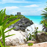 ¡Viva Mexico! Square Collection - Tulum Ruins along Caribbean Coastline with Iguana