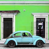 ¡Viva Mexico! Square Collection - VW Beetle Car - Lime Green & Powder Blue
