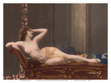 Classic Vintage Hand-Colored Nude - Exotic French Erotic Art Reproduction d'art par Julian Mandel