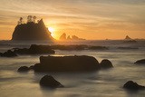 Rock Formations Silhouetted At Sunset On The Pacífic Coast Of Olympic National Park