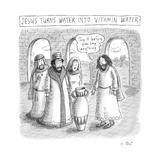 "TITLE: Jesus turns water into Vitamin Water Jesus before a jug  saying ""T - New Yorker Cartoon"
