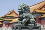 Bronze Lion Guarding the Entrance to the Gate of Supreme Harmony  Forbidden City  Beijing China