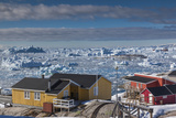 Greenland  Disko Bay  Ilulissat  Elevated Town View with Floating Ice