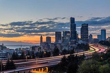 City Skyline and Interstate 90 and 5 from Jose Rizal Bridge in Downtown Seattle  Washington State