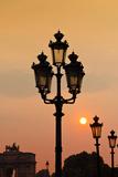 Lamp Posts at Sunset  Paris  France