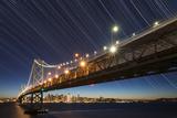 California  San Francisco Composite of Star Trails Above Bay Bridge
