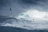 Hawaii  Maui Niccolo Porcella Windsurfing Monster Waves at Pe'Ahi Jaws  North Shore Maui  Hawaii