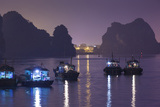 Vietnam  Halong City  Halong Bay Fishing Boats  Dusk