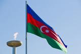 National Flag Blowing in Wind  Baku  Azerbaijan
