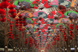 Paper Fans and Lucky Red Lanterns are Chinese New Year Decorations  Ditan Park  Beijing  China