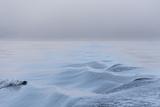 Washington State  Puget Sound Wake Patterns on Calm Water Reflecting Moody Light Dense Fog