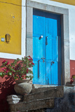 Mexico  Guanajuato the Colorful Homes and Buildings  Blue Front Door with Plant on Steps