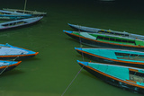 India  Varanasi 9 Blue  Red and Green Rowboats on the Green Water of the Ganges River