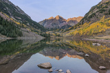 Colorado  White River National Forest  Maroon Bells with Autumn Color at First Light