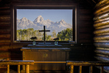 Tetons Through Window in the Episcopal Chapel of the Transfiguration  Wyoming