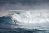 Hawaii Maui Lone Windsurfer on Monster Waves at Pe'Ahi Jaws  North Shore Maui