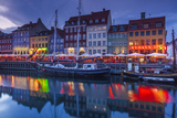 Denmark  Zealand  Copenhagen  Nyhavn Harbor  Evening