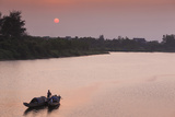Vietnam  Dmz Area Dong Ha  Cam Lo River  Boats at Sunset