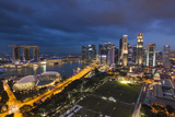 Singapore  City Skyline Elevated View Above the Padang  Dusk