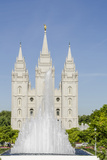 Fountain with Salt Lake Temple  Temple Square  Salt Lake City  Utah