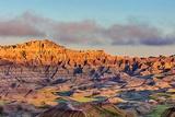 Sunrise Light Breaks Through on a Foggy Morning in Badlands National Park  South Dakota  Usa