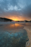 Wyoming  Yellowstone National Park Sunset with Clouds and Steam over Grand Prismatic Spring
