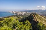 Honolulu from Atop Diamond Head State Monument  Honolulu  Oahu  Hawaii