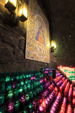 Lit Candles Within a Small Grotto  Benedictine Monastery  Barcelona  Spain