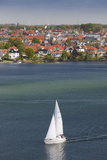 Denmark  Funen  Svendborg  Elevated Town View with Sailboat