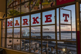 The Great Wheel Framed in Pike Market Place Windows in Seattle  Washington State  Usa