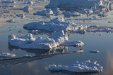 Greenland  Disko Bay  Ilulissat  Elevated View of Floating Ice and Fishing Boat