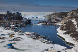 Greenland  Disko Bay  Ilulissat  Town Harbor  Elevated View