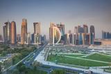 Qatar  Doha  Doha Bay  West Bay Skyscrapers  Elevated View  Dawn