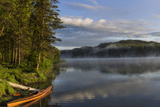 Sunrise with Kayak on Beaver Lake in the Stillwater State Forest Near Whitefish  Montana  Usa
