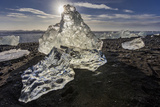 Scattered Ice from Icebergs on Black Sand Beach at Joklusarlon  Iceland