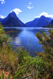 Looking across the Waters of Milford Sound Towards Mitre Peak on the South Island of New Zealand