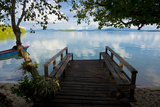 Pier of an Eco Lodge Above the Water of the Marovo Lagoon  Solomon Islands  Pacific