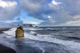 Sea Stack and Black Sand Beach Near Vik  Iceland