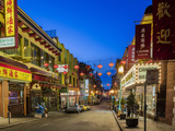 Look Down Grant Street in Chinatown at Dusk in San Francisco  California  Usa