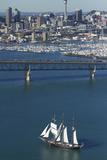 Spirit of New Zealand Tall Ship  Auckland Harbour Bridge  Auckland  North Island  New Zealand
