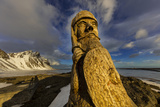 Wood Carving of an Ancient Viking at Vestrahorn  Mountain Near Hofn  Iceland