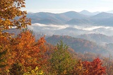 Tennessee Morning Light Fog in Valleys Smoky Mountain National Park Viewed from Foothills Parkway