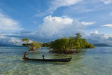 Young Boys Fishing in the Marovo Lagoon before Dramatic Clouds  Solomon Islands  South Pacific