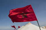 Africa  Western Sahara  Dakhla the Flag of Morocco Blowing in the Wind