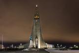 Hallgrimskirkja Church in Downtown in Winter in Reykjavic  Iceland