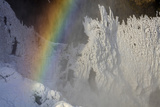 Skogafoss in Winter with Rainbow in Skoga  Iceland