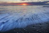Sunrise over the North Atlantic Ocean at Jokulsarlon  Iceland